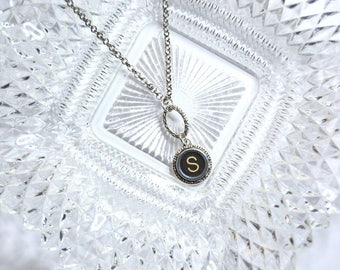 Typewriter Key Initial Necklace Personalized with a Letter S, Art Deco Vintage Style, Typography Jewelry.