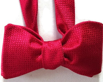 Silk Bow Tie for Men - Red Hot- One-of-a-Kind, Handcrafted - Self-tie - Free Shipping