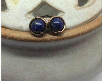 Lapis Lazuli Wire Wrapped Stud Earrings Lapis Lazuli Genuine Gemstone Earrings Blue Stud Earrings Lapis Lazuli Earrings Lapis Posts Handmade