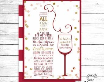 Love & A Little Bit of Wine Red Bridal Shower Invitation