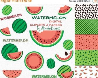 SUMMER SALE - 55% OFF Watermelon Cliparts, Fruits Clipart, Watermelon Papers, Summer illustrations, Digital Clip art, Scrapbooking  Graphics