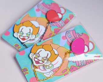 Clown and Balloon, Hard Enamel Pin with Chain