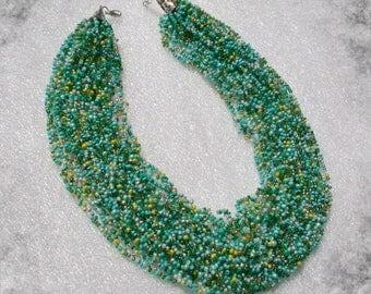 Multi strand Necklace . Beadwork . Beaded Jewelry . Seed Bead  Necklace , multi strand beaded necklace ,