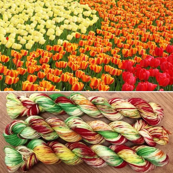 Tulip Field Miniskein, 20g Spring theme merino nylon speckled sock yarn