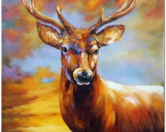 Hand Painted Impressionist Deer Oil Painting On Canvas - Contemporary Animal Art CERTIFICATE INCLUDED