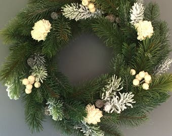 Christmas wreath, white wreath, christmas decoration, frosted wreath, door wreath, 14 inch wreath
