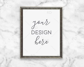 "Silver Antique Frame Mockup on Marble Desk / Styled Stock Photography / 8""x10"" Frame PSD smart object and PNG / Styled Desk with Frame"