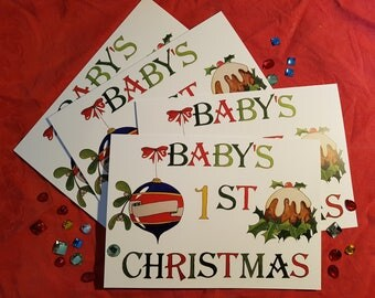 Baby's first Christmas card personalised