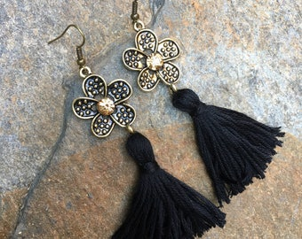 tassel earrings Shabby chic boho earrings bohemian flower earrings black tassel sparkly earrings long dangle drop tassel  earrings
