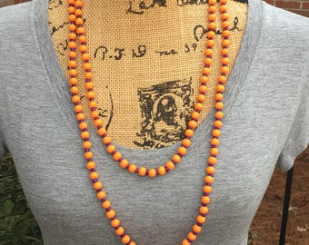 long beaded wrap necklace choker necklace x-long double wrap necklace purple orange wood Game day necklace bohemian boho triple strand