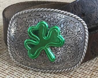 Shamrock belt buckle mens bet buckle women's belt buckle Irish Floral Engraved Silver belt buckle bohemian gypsy chic Belt Buckle
