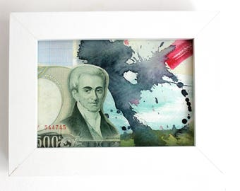 ORIGINAL Framed Collage Artwork - Mixed Media Art with Foreign Money Note ~ Ink Splash Watercolour - Small White 6x5 inch - Postcard Size