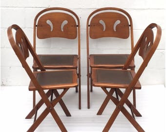 Four Mid Century Wood Fold Up chair,Retro wood dining chairs, Four Mid century modern kitchen chairs,game table chairs,SHIPPING NOT INLCUDED