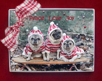 NEW BOXED CHRISTMAS Cards - Peace Love Joy - pug christmas cards - 5x7