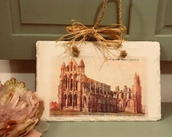 Slate wall hanging of Whitby Abbey