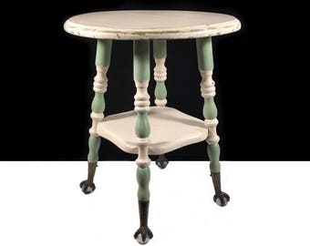 Antique Plant Stand or Wooden Stool with Claw & Ball Feet and Shabby Chic Green and White Finish