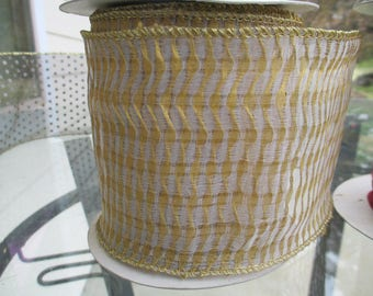 Gold Ribbed RIbbon - Vintage Ribbon, Trim, Costume, Curtains, Lush Wired 3 1/2 by 8 Yards  - Made in India - In Great Condition - Original