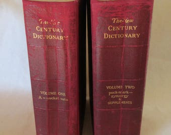 Vintage Dictionary Set - New Century 1946 - Large - Movie Set Books - Decorative Books - Two Volumes or Reference or Home/Office Decor