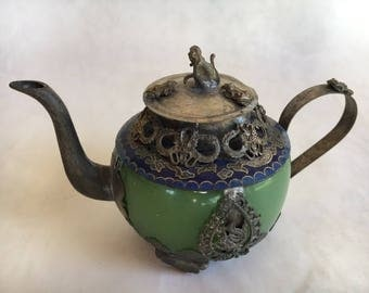 """Chinese tea Pot, Cloisonne, Green, Small, Monkey,  Frogs, Flowers, Dragons, Marked, From Chinese Estate China,  Lid, 3 1/2"""" High, FREE SHIP"""