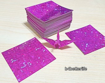 "200 Sheets 1.5"" x 1.5"" PINK Color DIY Chiyogami Yuzen Paper Folding Kit for Origami Cranes ""Tsuru"". (4D Glittering paper series). #CRK-85."