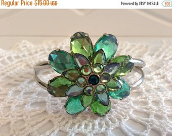 On Sale Vintage Silvertone Cuff Bracelet with Green Stones