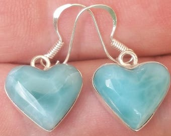 natural blue HEART LARIMAR stone 925 Sterling silver  earrings (BH-3)