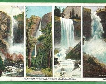Vintage Postcard -  Views of Four Water Falls in Yosemite National Park in California  (3015)