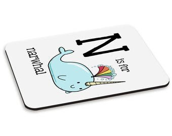 Letter N Is For Narwhal PC Computer Mouse Mat Pad