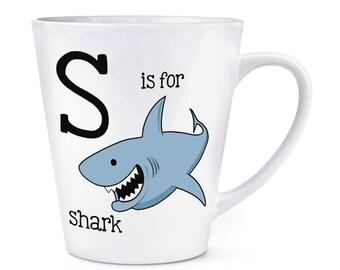 Letter S Is For Shark 12oz Latte Mug Cup