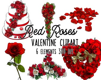 Red roses clipart instant download, wedding clipart, floral clipart, heart of roses, valentine's scrapbooking, PNG transparent background