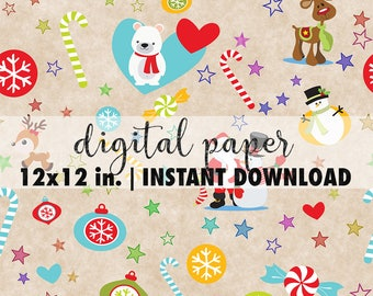Seamless Christmas paper digital 12x12, seamless Christmas pattern, premade scrapbook pages, background download, Christmas paper sheets #2
