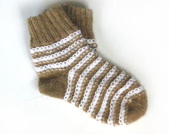 Hand knitted socks, Warm socks, Camel wool socks, Striped socks
