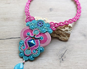 Turquoise and fuchsia soutache necklace. Gift for her. Jewelry with swarovski crystals.