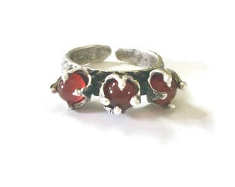 Carnelian ring, silver ring, red stone ring, adjustable ring