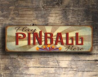 PINBALL SIGN, Play Pinball Here Sign, Pinball Signs, Pinball Art, Old Style Pinball Signs, Games Room Signs, Pinball Decor, Pinball Wall Art