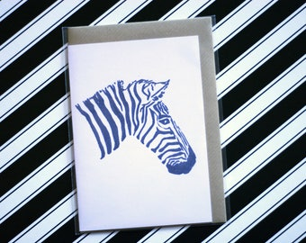 Zebra - Ecofriendly Blank Greeting Card with Vegan Envelope - 100% Recycled Paper and Biodegradable Packaging