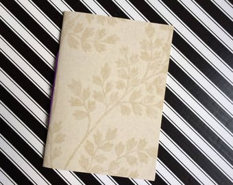 Hand Bound Blank A5 Field Notebook - Textured Cream Herb Leaf Pattern with Rich Purple Binding - 3 Hole Pamphlet Stitch - Recycled Wallpaper