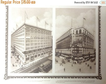 ON SALE Vintage New York City Print (Macy's, Gimbel Brothers)-NYC-12x10 Beautiful Antique Rotogravure Print. Fine detail with ornate border.