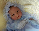 Reborn Doll Baby dress and  bonnet in bluewith blue  lace for 1820 reborn dolls clothes   doll clothes baby vintage doll