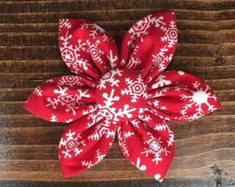 Red Snowflake Flower Hair Clip