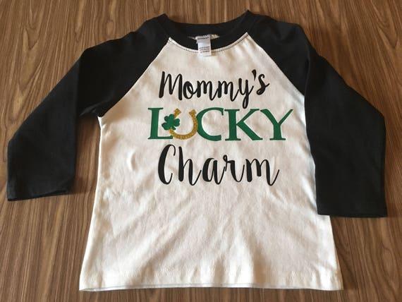 Mommys Lucky charm boys raglan shamrock graphic t shirt, green black boys st patricks day shirt, boys shamrock raglan, lucky shamrock shirt,