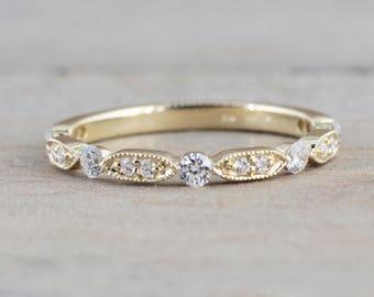 14k Yellow Gold Diamond Vintage Milgrain Bezel Band Ring Wedding