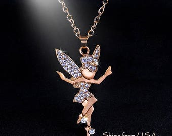 Calling all Tink and Fairy or Pixie Lovers, Bold Gold and Gemstones Winged Fairy Pendant Necklace