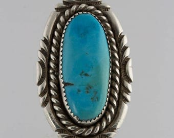 Sterling Silver Turquoise Stone Ring, Native American, Size 7