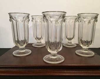 "Vintage Glass Parfait Glasses 5 3/8"" height"