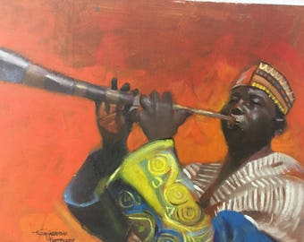 African Painting. The Trumpeter 2. Acrylic Painting On Canvas.