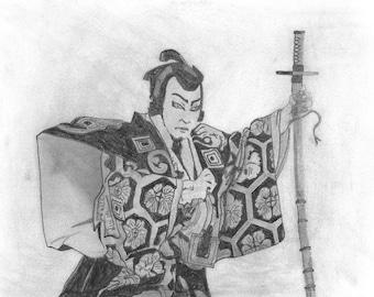 Original pencil drawing of a Samurai messenger