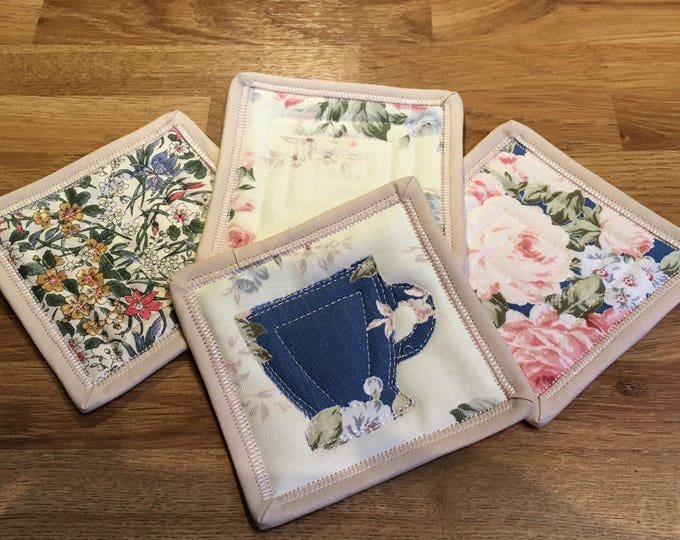 Set of 4 handmade, quilted, fabric coasters - English roses and teacup