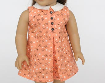 18 inch girl doll clothes - Sixties Vibe A-Line Dress with front pleat and collar. Coral.