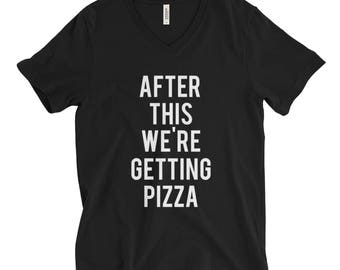 "RESERVED: 7 VNECK T-shirts ""After This We're Getting Pizza"" Black Shirt - Bridal Party Getting Ready Outfit - Bride robe"
